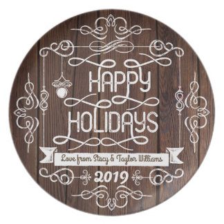 Rustic Wood Happy Holidays Christmas Typography Plate