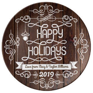 Rustic Wood Happy Holidays Christmas Typography Porcelain Plate