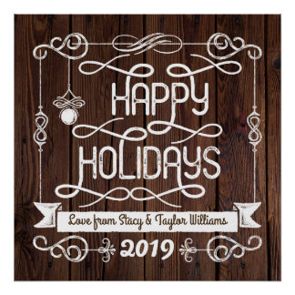 Rustic Wood Happy Holidays Christmas Typography Poster