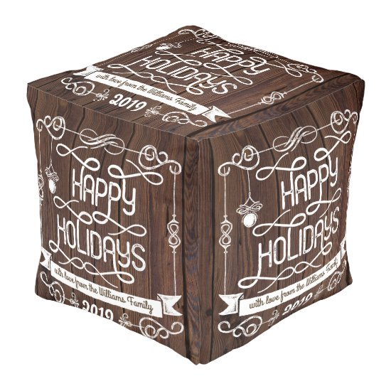 Rustic Wood Happy Holidays Christmas Typography Pouf