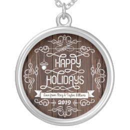 Rustic Wood Happy Holidays Christmas Typography Silver Plated Necklace