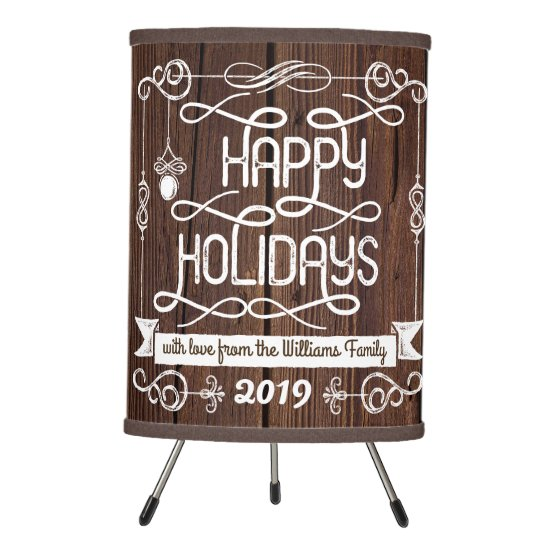 Rustic Wood Happy Holidays Christmas Typography Tripod Lamp