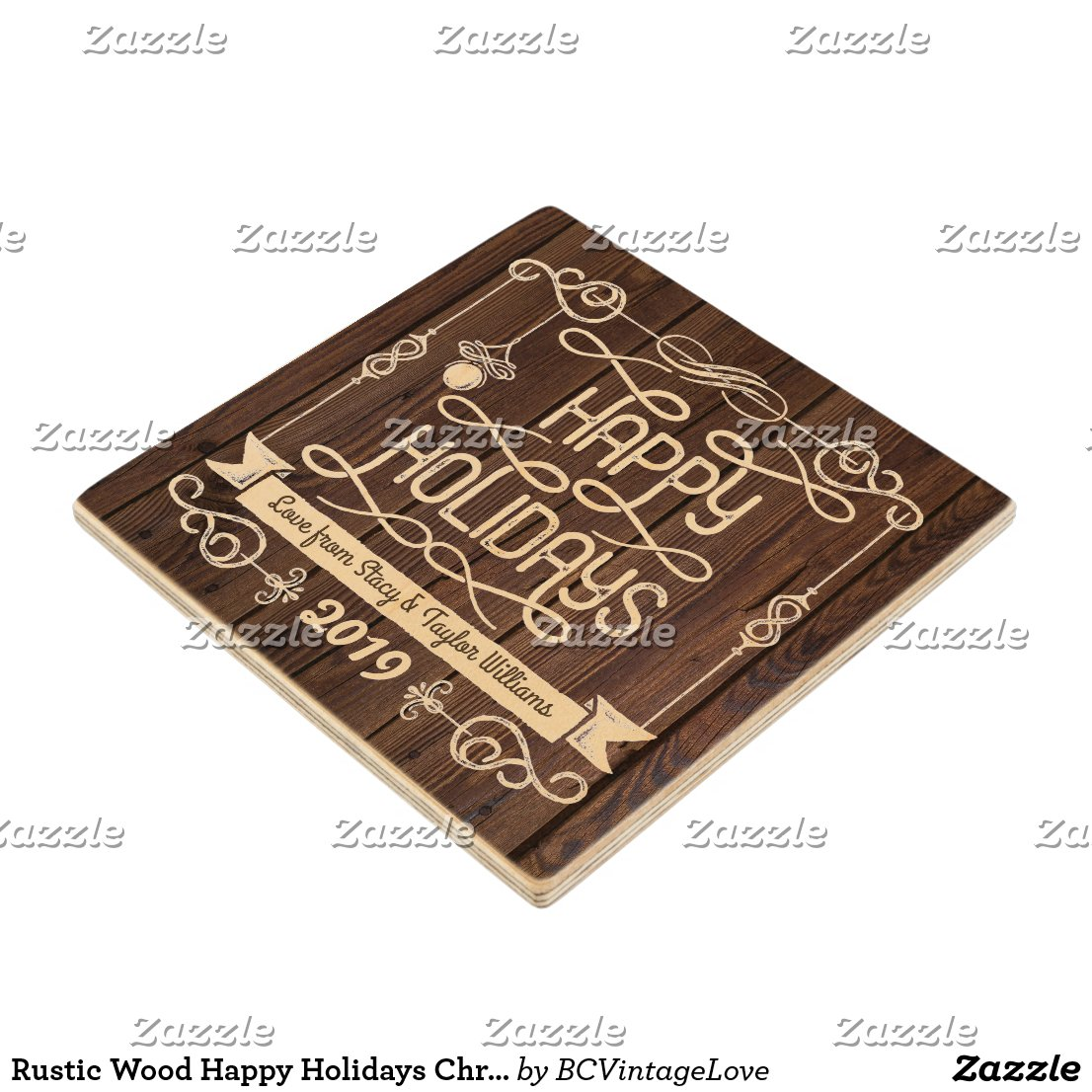 Rustic Wood Happy Holidays Christmas Typography Wooden Coaster