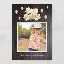 Rustic Wood Happy Holidays Photo Card