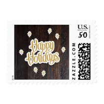 Rustic Wood Happy Holidays Postage