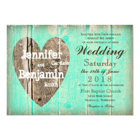 Rustic Wood Heart Aqua Country Wedding Invitations