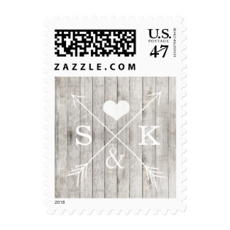 Rustic Wood Heart Arrows Initials Stamp