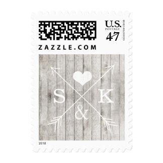 Rustic Wood Heart Arrows Initials Stamp