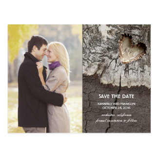 Rustic Wood Heart Birch Bark Photo Save the Date Postcard