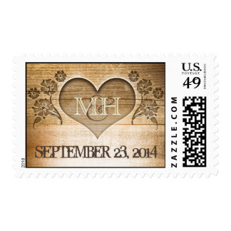 rustic wood heart carving wedding postage stamps