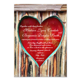 Rustic Wood Heart Country Wedding Invitations