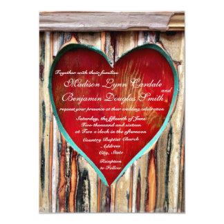 Rustic Wood Heart Country Wedding Invitations Personalized Invitations