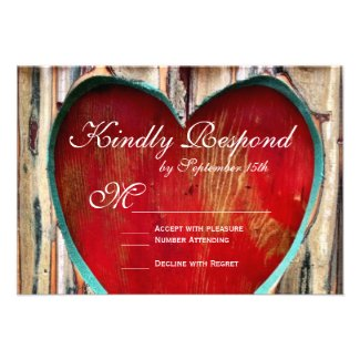 Rustic Wood Heart Country Wedding RSVP Cards
