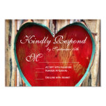 Rustic Wood Heart Country Wedding RSVP Cards Personalized Invites