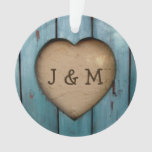 Rustic Wood Heart Custom Year Initial Favor Ornament at Zazzle