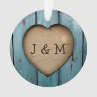 Rustic Wood Heart Custom Year Initial Favor Ornament