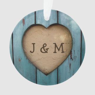 Rustic Wood Heart Custom Year Initial Favor Ornament
