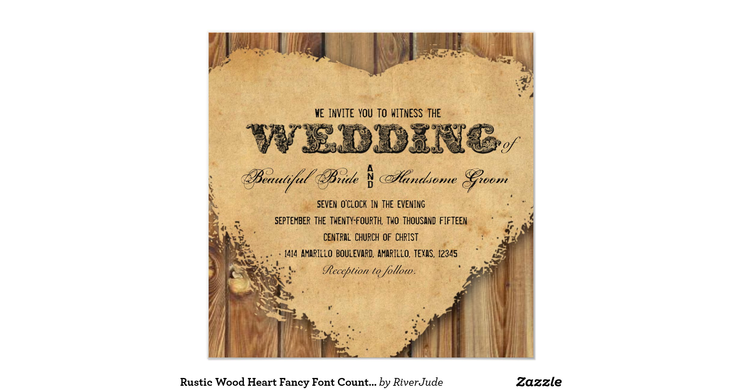 Rustic Wood Heart Fancy Font Country Wedding Invitation Ree2ef98d02314fdb97fc78f34777e6bd Zk91m