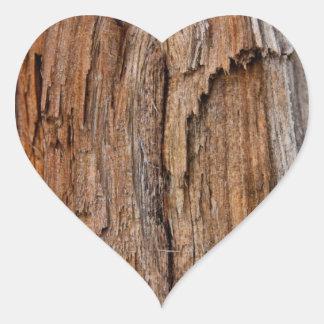 Rustic wood heart sticker