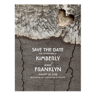 Rustic Wood Heart Tree Bark Save the Date Postcard