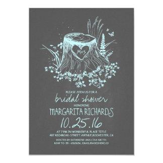 Rustic wood heart tree bridal shower invite