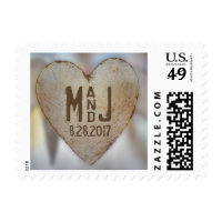 Rustic Wood Heart Wedding Monogram Stamp