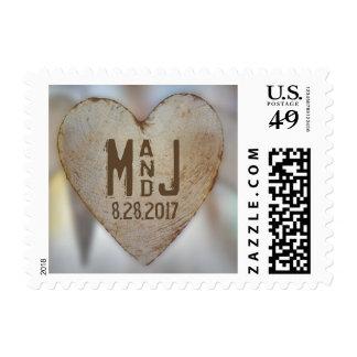 Rustic Wood Heart Wedding Monogram Stamp