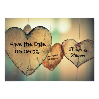 Rustic Wood Hearts - 3x5 Save the Date Card