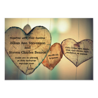 Rustic Wood  Hearts - 3x5 Wedding Invitation