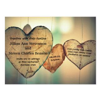 Rustic Wood  Hearts - 6.5 x8.75 Wedding Invitation
