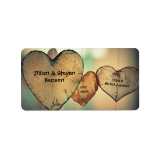Rustic Wood Hearts - Address Labels