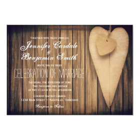Rustic Wood Hearts Country Wedding Invitations