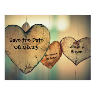 Rustic Wood Hearts - Save the Date Post Card