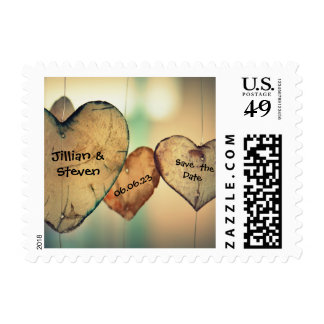 Rustic Wood Hearts - Save the Date Postage Stamp