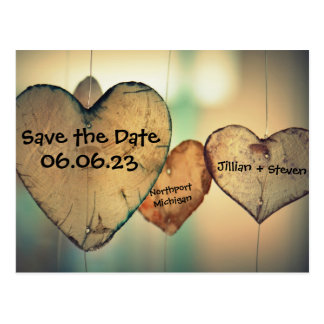 Rustic Wood Hearts - Save the Date Postcard