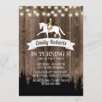 Rustic Wood Horseback Riding Horse Birthday Invitation