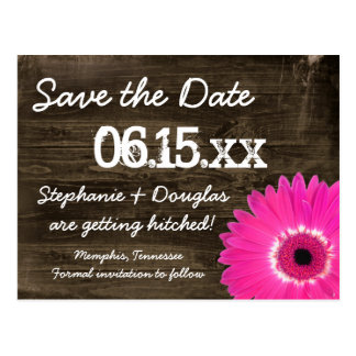 Rustic Wood Hot Pink Daisy Save The Date Postcards