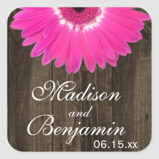 Rustic Wood Hot Pink Daisy Wedding Favor Stickers