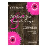 Rustic Wood Hot Pink Daisy Wedding Invitations Invite