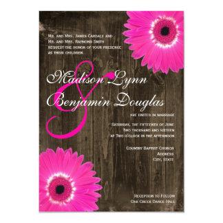 Rustic Wood Hot Pink Daisy Wedding Invitations Invite