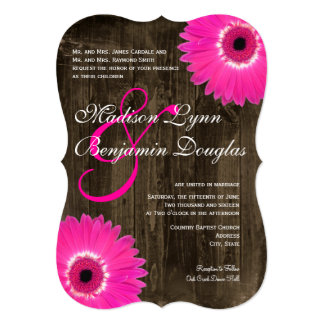 Rustic Wood Hot Pink Daisy Wedding Invitations