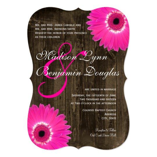 Hot Pink Gerbera Daisy White Wedding Invitation 5 X 7: Rustic Wood Hot Pink Daisy Wedding Invitations