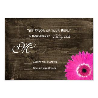 "Rustic Wood Hot Pink Daisy Wedding RSVP Cards 3.5"" X 5"" Invitation Card"