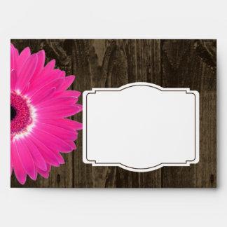 Rustic Wood Hot Pink Gerber Daisy Custom Envelopes