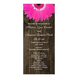 Rustic Wood Hot Pink Gerber Daisy Wedding Programs Customized Rack Card