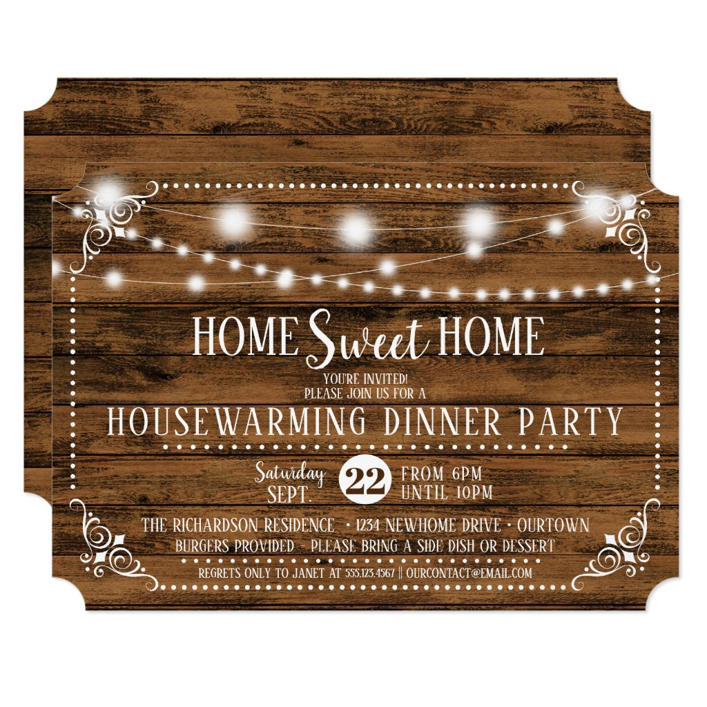 Rustic Wood Housewarming Dinner Party Invitation