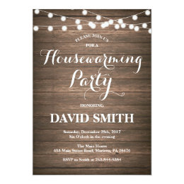 Moving party invitations announcements zazzle rustic wood housewarming party invitation card stopboris Images