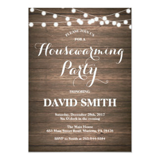 Rustic Wood Housewarming Party Invitation Card
