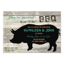 "Rustic Wood ""I Do"" BBQ Rehearsal Dinner Invitation"