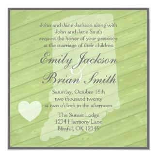 Rustic wood Indiana green wedding invitations